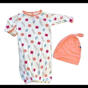 Kickee pants baby gown set
